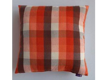 Polštář a povlak oranžovo -hnědá kostka 4 cm