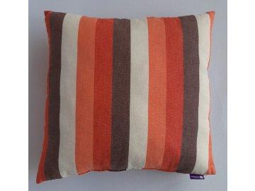 Polštář a povlak oranžovo-hnědý pruh šíře 4 cm
