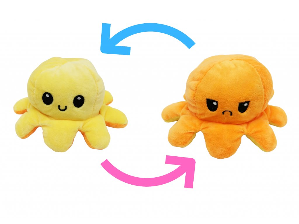 plyšová oboustranná chobotnice kawaii pro děto plyšák (1)