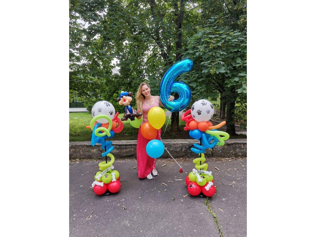 tlapková patrola chase narozeninová oslava sloup z balónků paw patrol