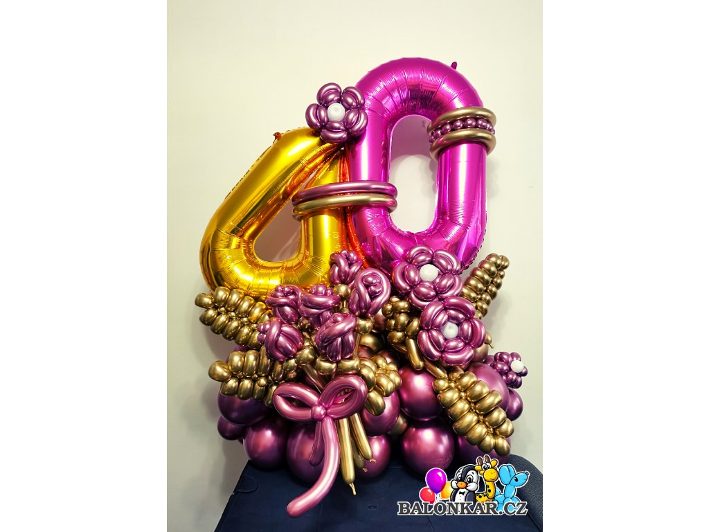 Balónkový buket zlaté číslo deluxe