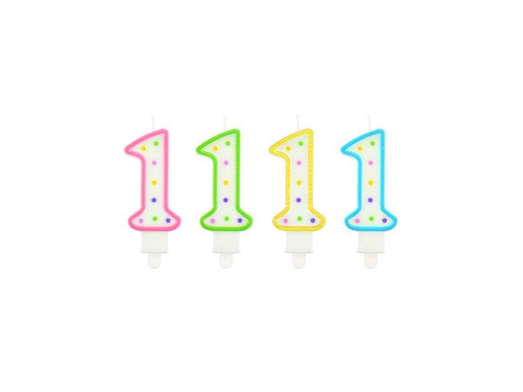 Dortová svíčka číslo 1 - různé barvy