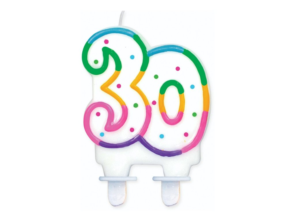 narozeninová svíčka svíčky dortová svíčka na dort 30