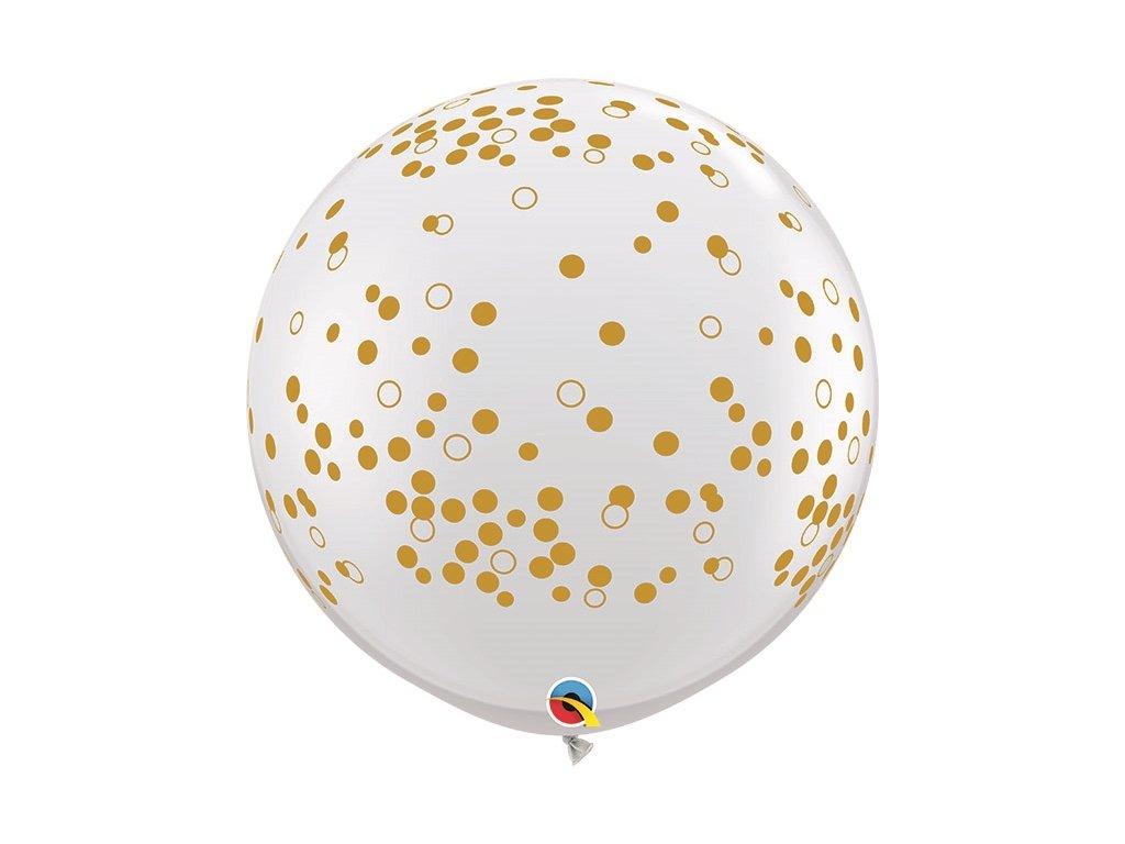 zlaté balónky s konfety narozeninové balonky svatební zlaté konfety