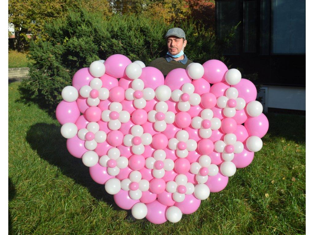 Obří Srdce z balónků - vzor křížek