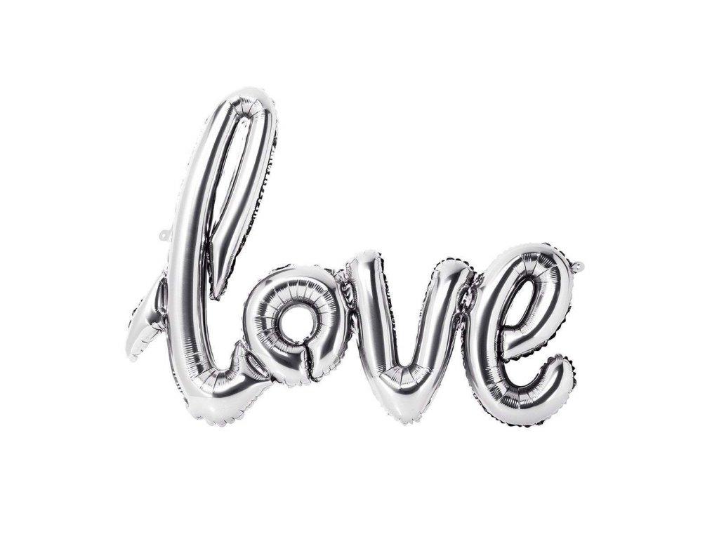 love nápis láska balónky z balónků narozeninové balonky párty stříbrný