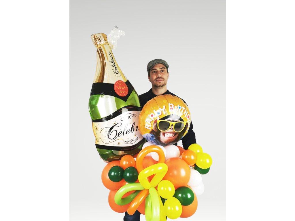 narozeninové balonky párty balonky šampaňské láhev sektu champagne dárek dárky (1)