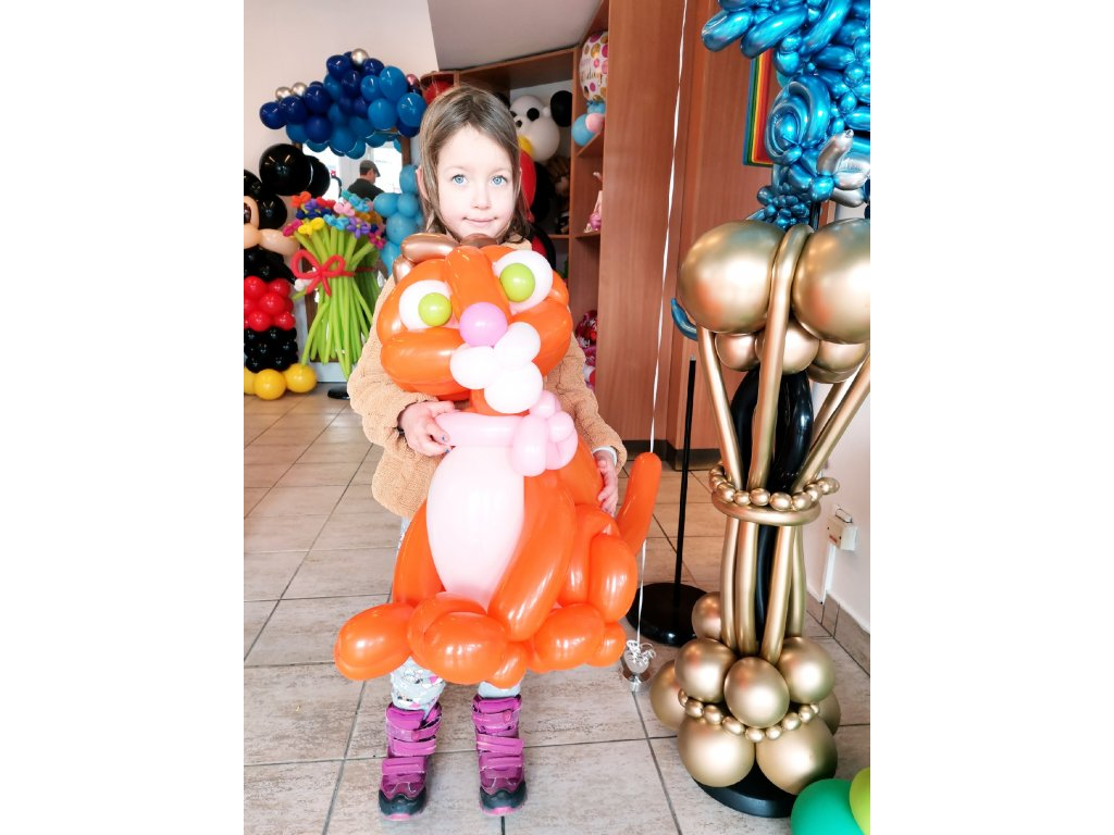 kočka kočička číča z balónků balónky narozeninové párty dárek dárky pro děti s dětmi narozeniny plyšák plyšáci hračka hračky