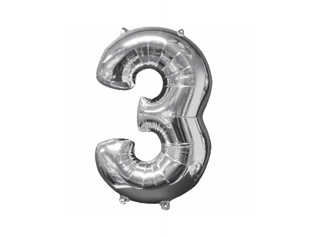 Balónek číslice stříbrná 3