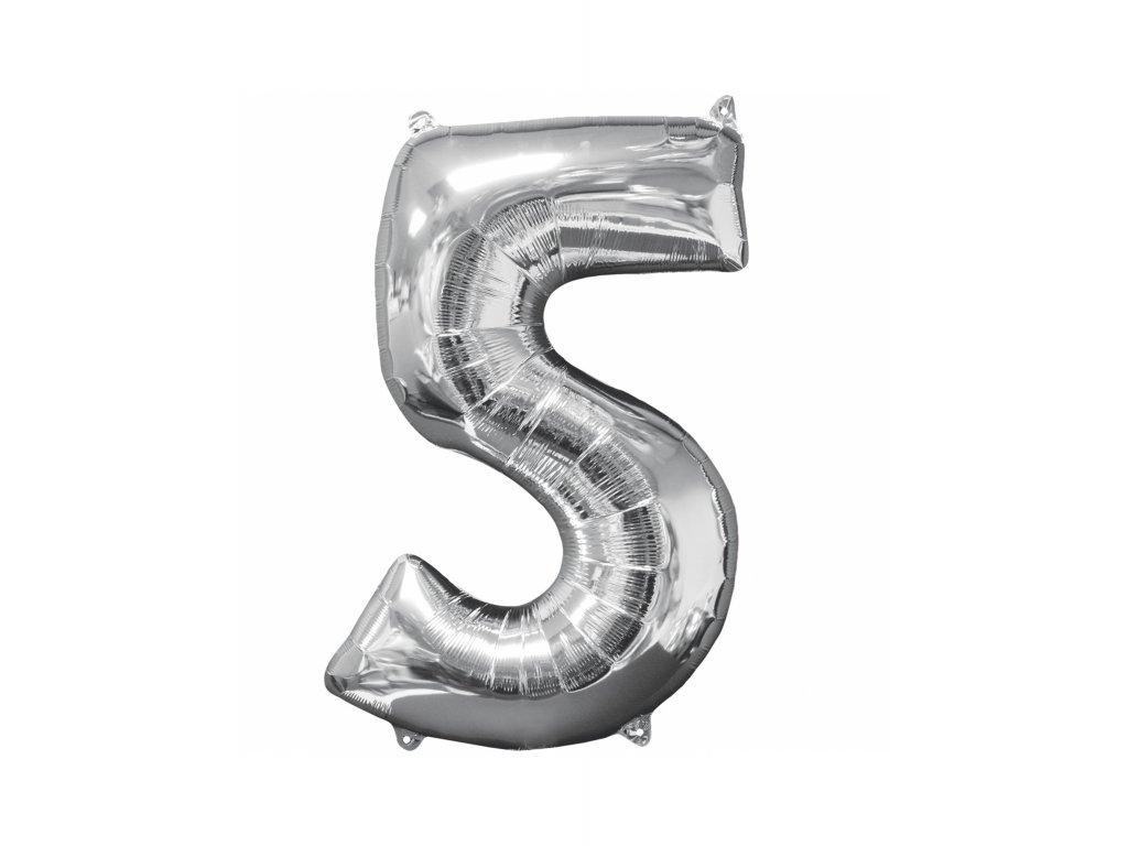 Balónek číslice stříbrná 5
