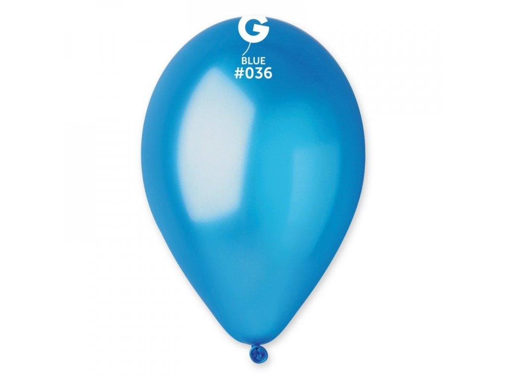 modrý metalický balonek