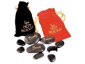 Sada lávových kamenů - černý pytlík - 9 ks