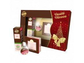 Vánoční sada - Růže - Luxury oil, Bambucké máslo, Balzám na rty