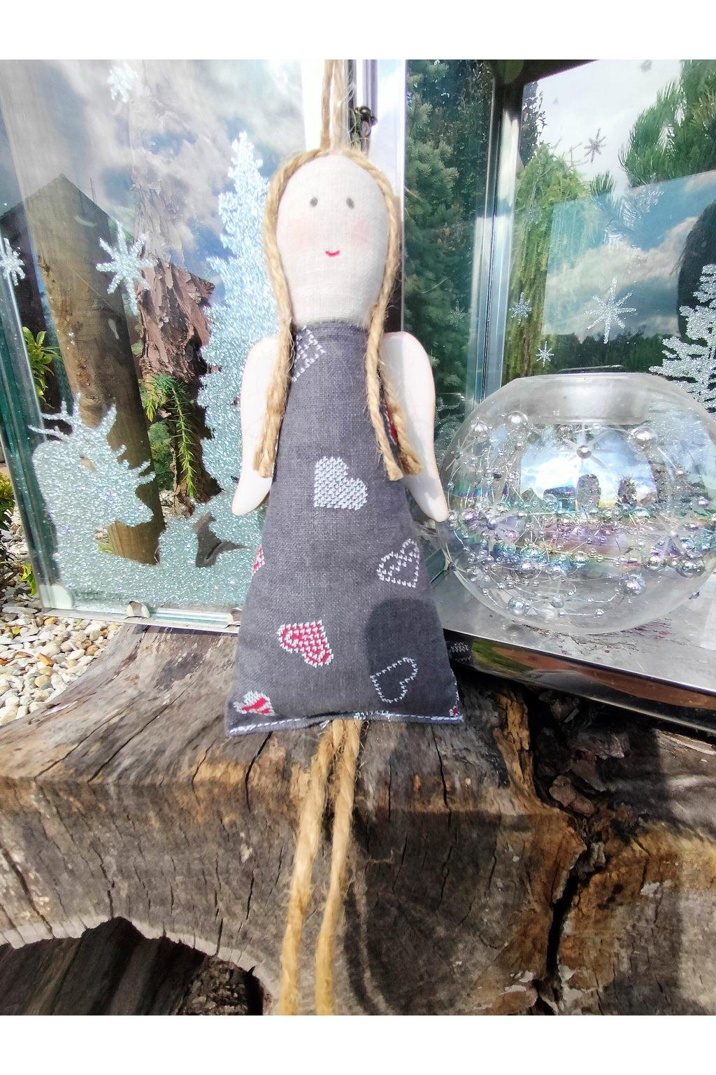 Vánoční andělka s keramickými křídly