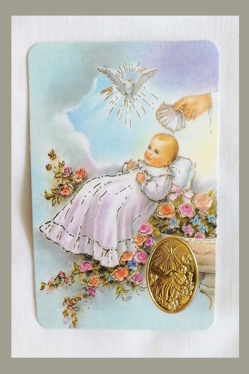 Kartička s přáním ke křtu