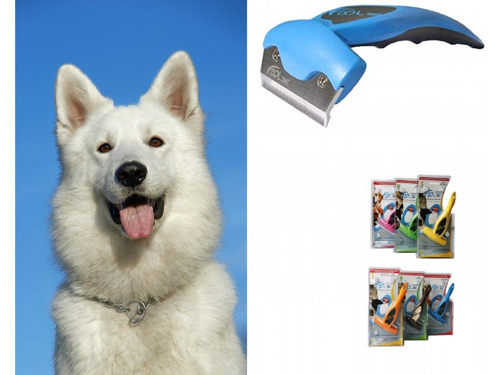 Vyčesávací hřebeny na línající psy Foolee používané jako furminátor na pročesání podsady