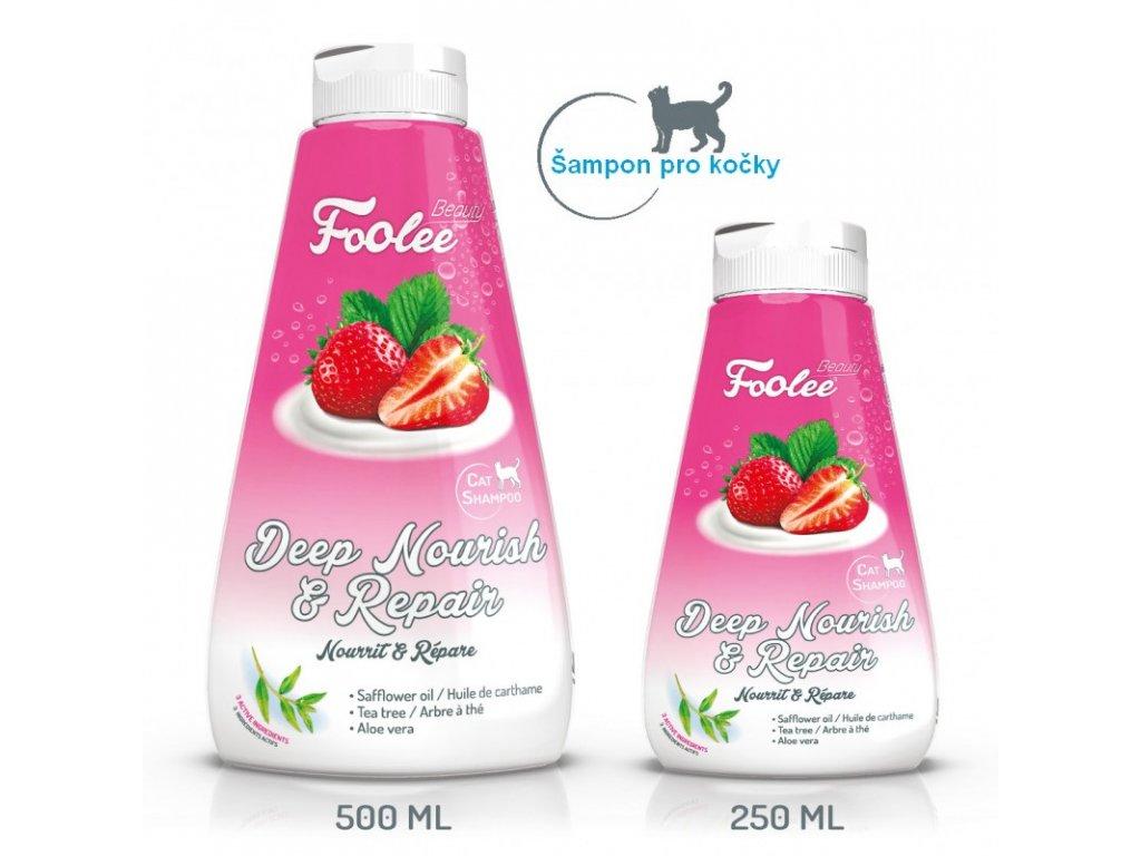 Šampon pro kočky Foolee Beauty Deep Nourish & Repair pro hloubkovou výživu a regeneraci srsti koček, kotat a kočkovitých šelem