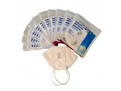respirátory KADI 001 FFP2 bílé sada Čistá pohoda