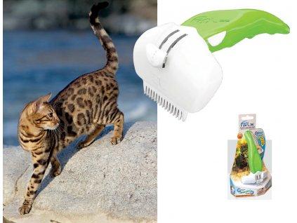 Bengálská kočka vyčesáváná nejlepším kartáčem FooLee Easee