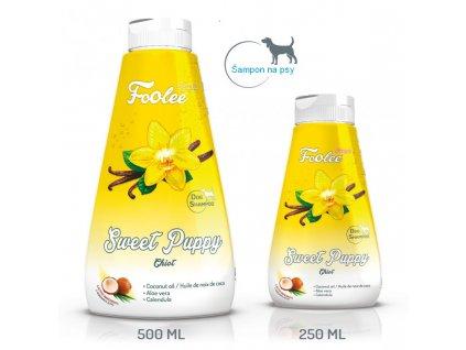 Balení 500 ml a 250 ml šamponu pro štěňata foolee Sweet Puppy s kokosovým olejem