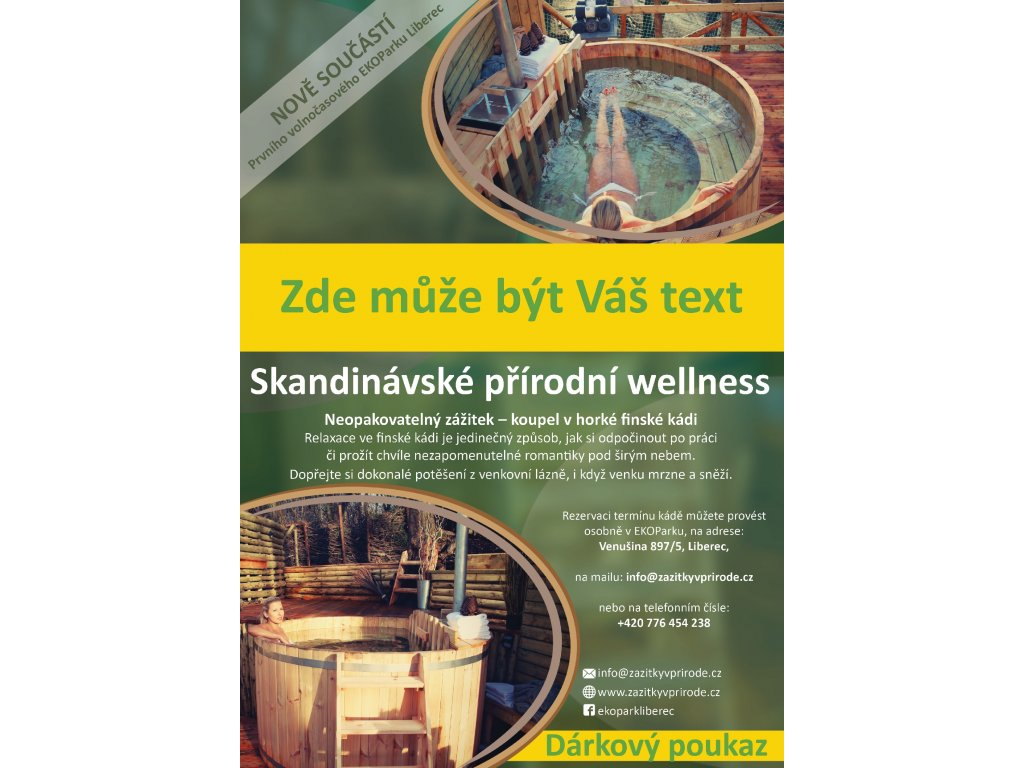 Dárkový poukaz na volnočasovou aktivitu: přírodní Wellness (Pátek - Neděle + *)