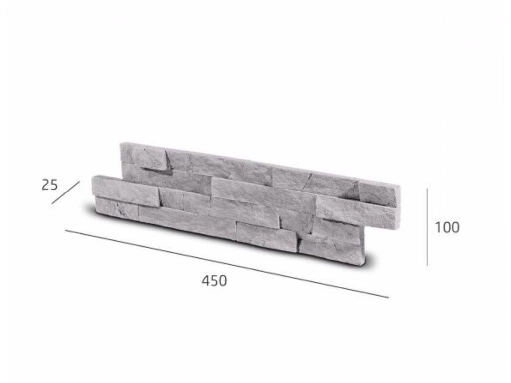 Obkladový kámen VERTIGO šedá 45,0 x 10,0 cm  | cena za balení