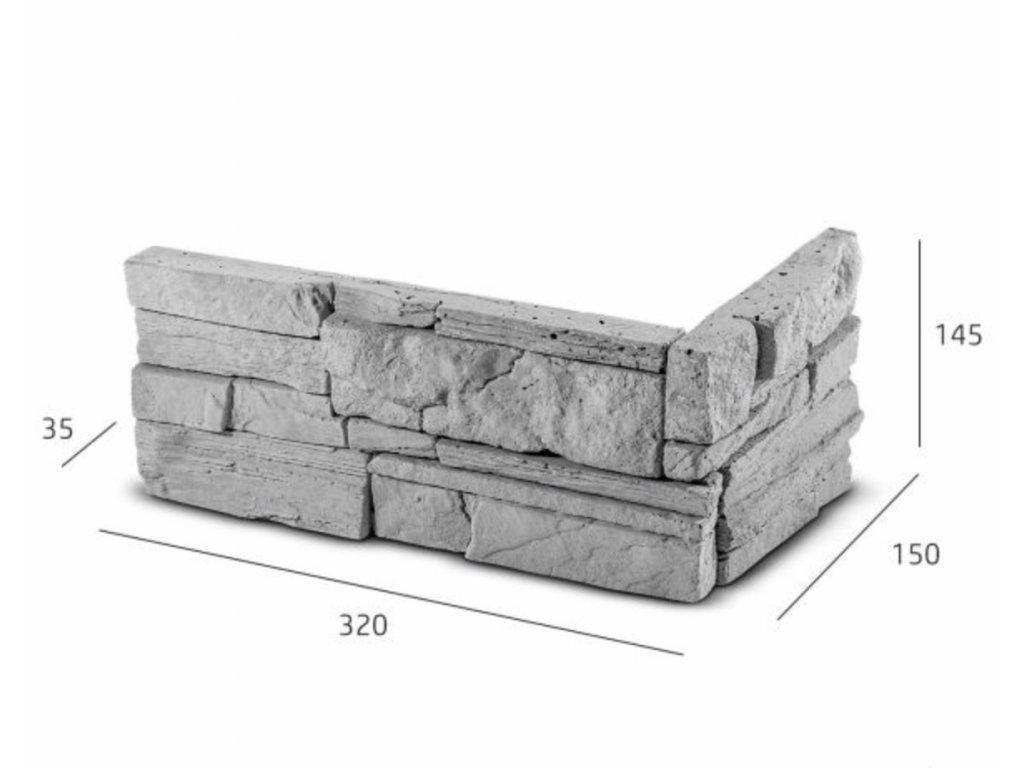 ROH Obkladový kámen MANUS šedá 32,0 x 15,0 x 14,5 x 3,5 cm    cena za balení