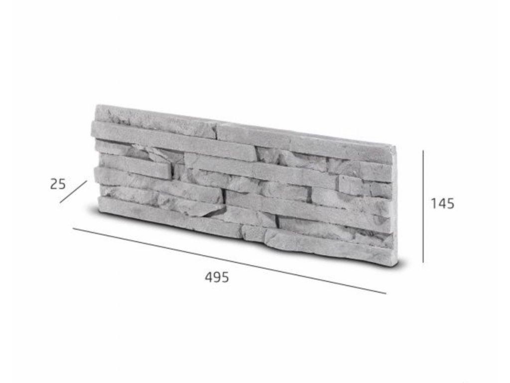 Obkladový kámen TEPIC šedá 49,5 x 14,5 cm  | cena za balení
