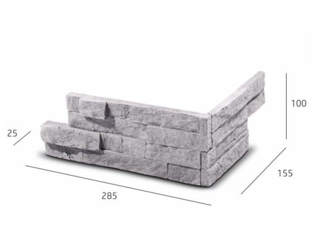 ROH Obkladový kámen VERTIGO šedá 28,5 x 15,5 x 10,0 x 2,5 cm  | cena za balení