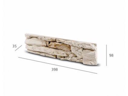 Obkladový kámen DAFINA béžovo hnědá 39,8 x 9,8 cm  | cena za balení
