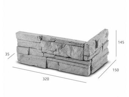 ROH Obkladový kámen MANUS šedá 32,0 x 15,0 x 14,5 x 3,5 cm  | cena za balení