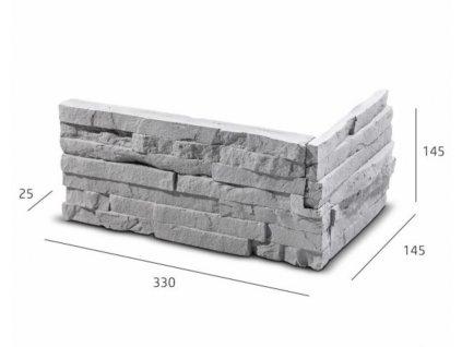 ROH Obkladový kámen TEPIC šedá 33,0 x 14,5 x 14,5 x 2,5 cm    cena za balení