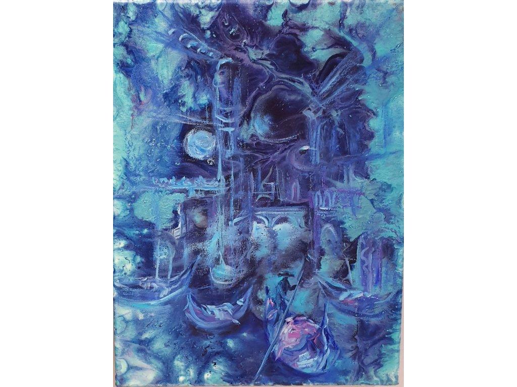 acrylic pouring, kombinovaný s olejomalbou na plátně ,, Stracené město,, 30x40 r. 2020 7 800 kč rámováno