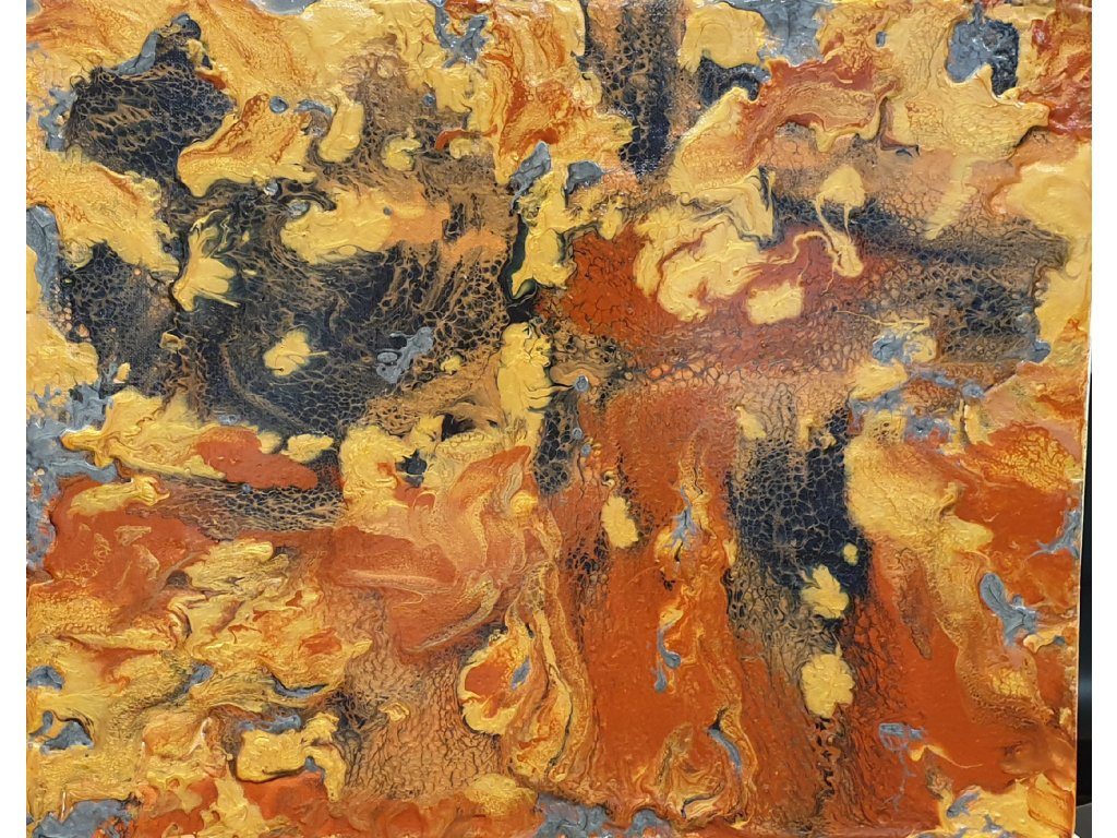,, DRAČÍ ROZHOVOR,, acrylic pouring na plátně, Rámováno v starozlatém rámu 40x50 cena 7 000 kč