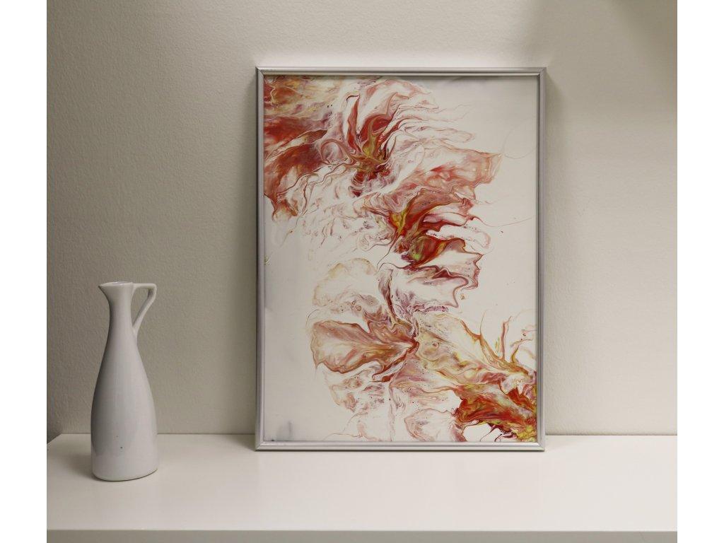 Abstraktní obraz Červené květy