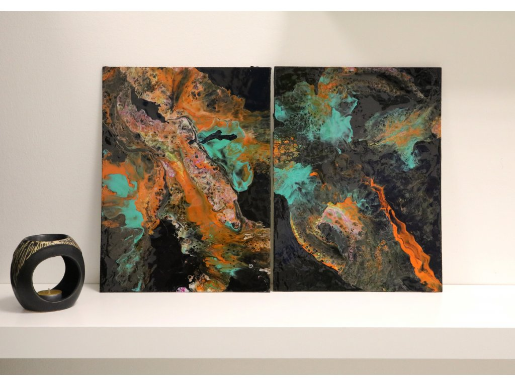 Abstraktní obraz Orange a tyrkys