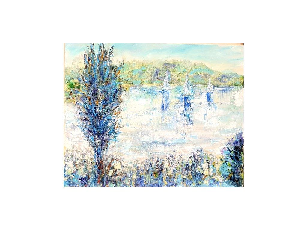 olejomalba na plátně 40x50 ,, RÁNO NA LIPNĚ,, r.2020 cena 12 000 Kč rámováno