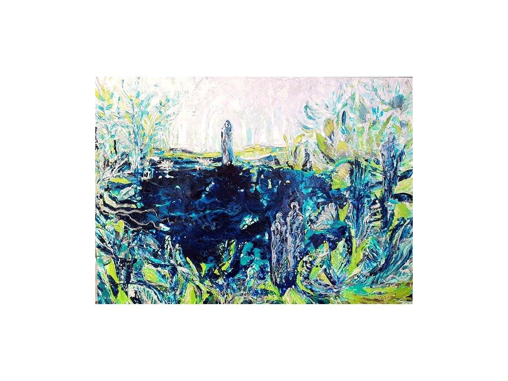 acrylic pouring, strukturální malba , kombinovaná technika na plátně 120x90 ,, MODRÉ JEZERO,, r. 2020 cena 45 000 kč