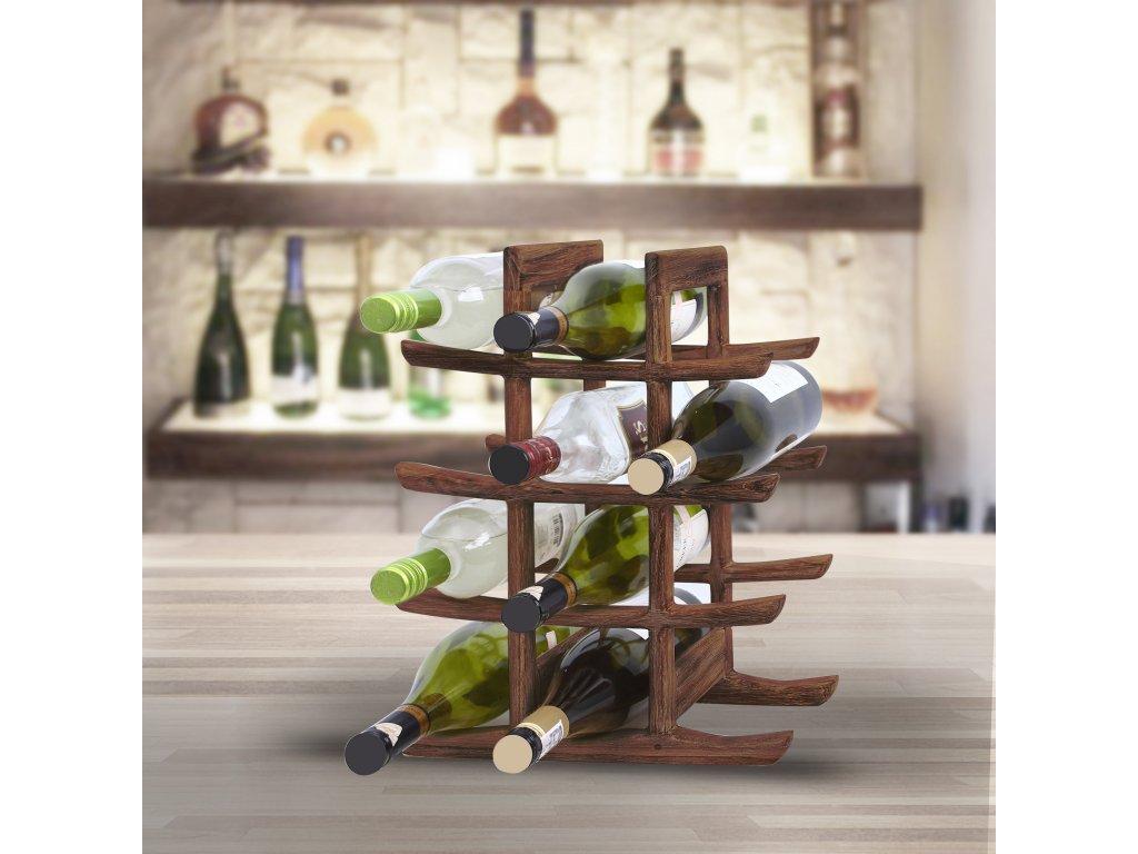 9704 stojan na vino z teakoveho dreva
