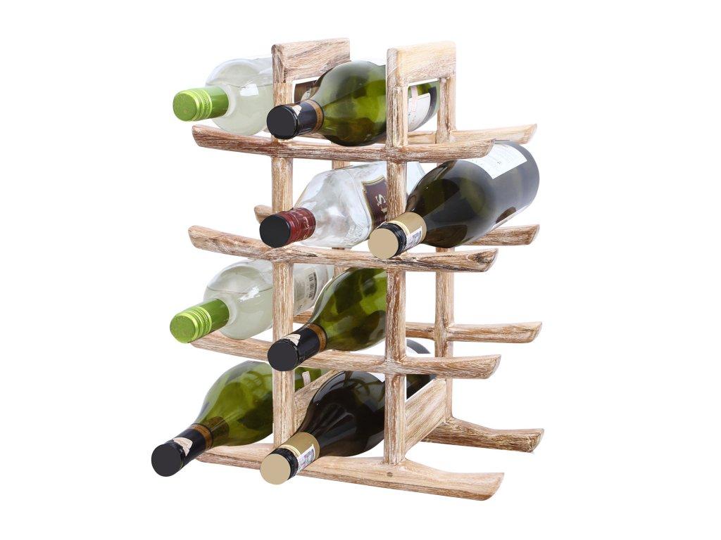 9707 stojan na vino z teakoveho dreva