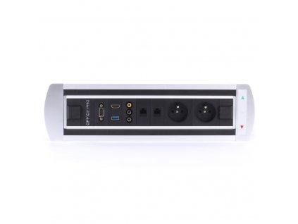 Elektricky otočný panel, 2x el.,2x data, A/V, VGA, USB, HDMI - BTCZ 043