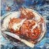 strukturální malba, akryl na plátně 40x40 r. 2020 cena 10 000 Kč
