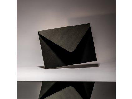Obálka C6, Black, 120 g, černá,  šípová klopa