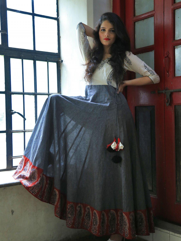 Anarkali (šaty) mušelínové (bavlněné) tištěné