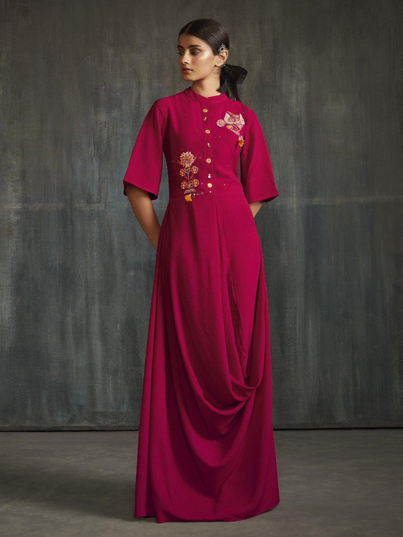Šaty - BSY hedvábí nopkové s výšivkou – kolekce Drapes