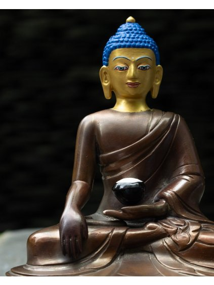 Socha Buddha Šákjamuni - bronzový s pozlaceným obličejem