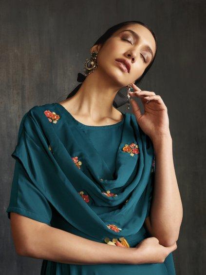 Šaty - BSY saténové hedvábí s výšivkou – kolekce Drapes