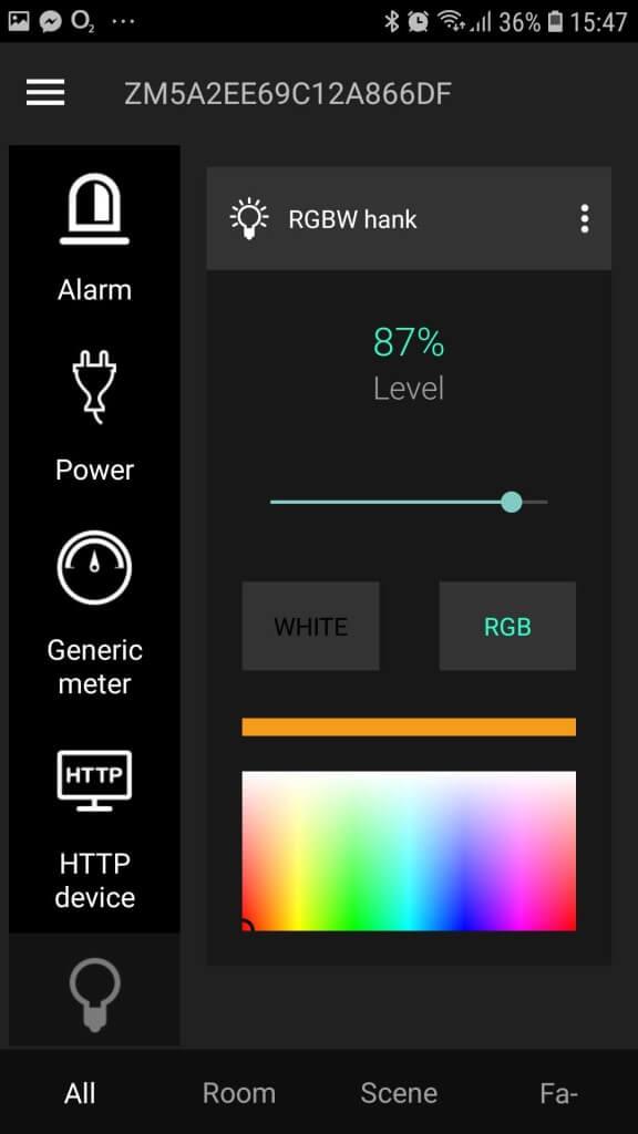 RGBW žiarovka v Zipato Systeme