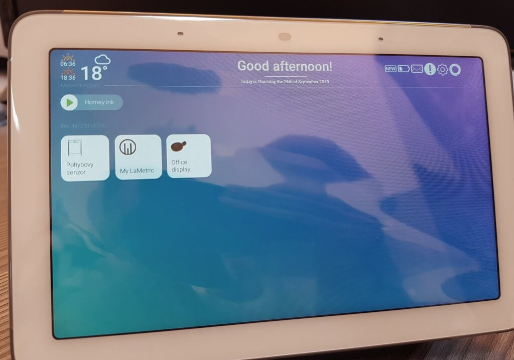 Homey Dash na Google Home Hub