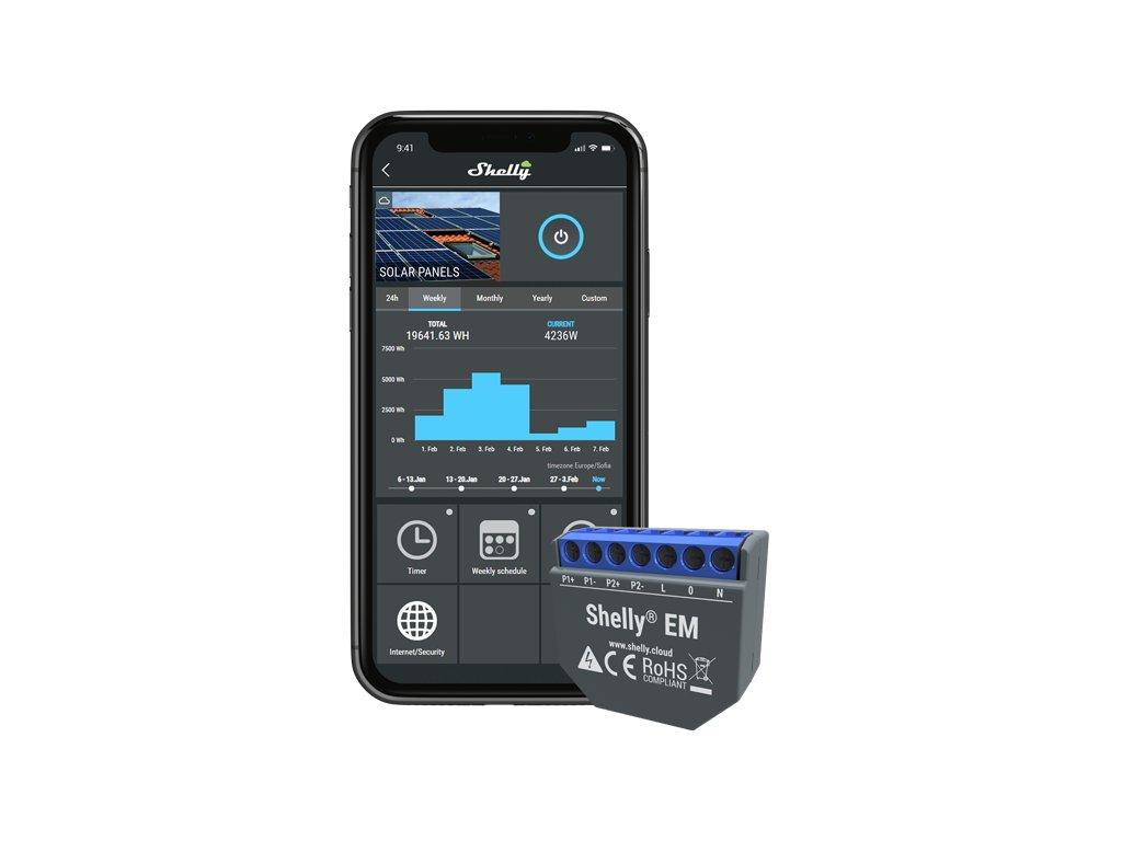 Shelly EM + 120A svorka - WiFi meter spotreby